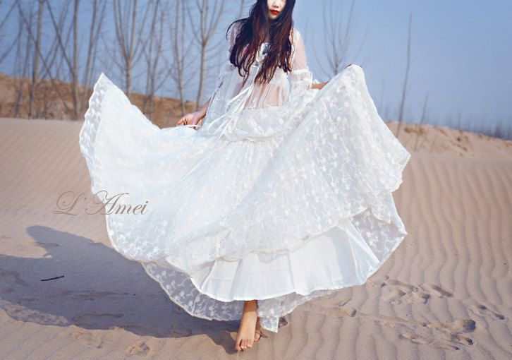 Embroidered Lace Gypsy Bohemian Style  Long Wedding Dress by LAmei, $395.00