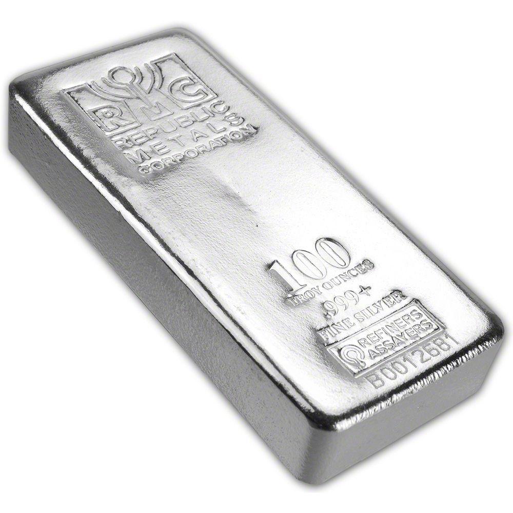 100 Oz Rmc Silver Bar Republic Metals Corp Pour 999 W Serial Silver Bars Silver Bullion Gold Bullion Coins