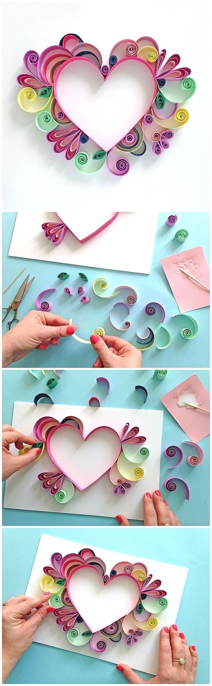 How to's : Learn How to Quill a darling Heart Shaped Mother's Day Paper Craft Gift Idea via Paper Chase - Moms and Grandmas will love these pretty handmade works of art!  The BEST Easy DIY Mother's Day Gifts and Treats Ideas - Holiday Craft Activity Projects, Free Printables and Favorite Brunch Desserts Recipes for Moms and Grandmas