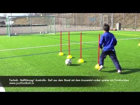 Technik - Ballführung/ -kontrolle - Ball vorbei spielen mit Torabschluss