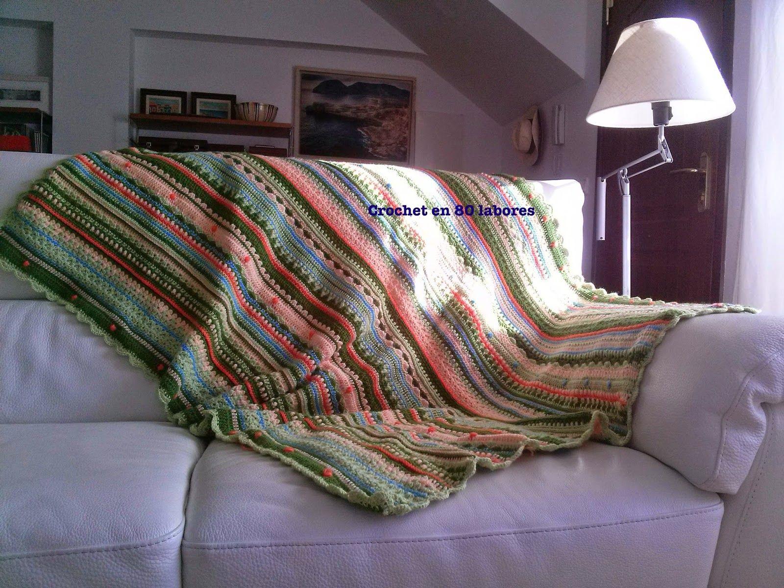 Crochet en 80 labores ideas para una manta de sof - Manta para sofa ...