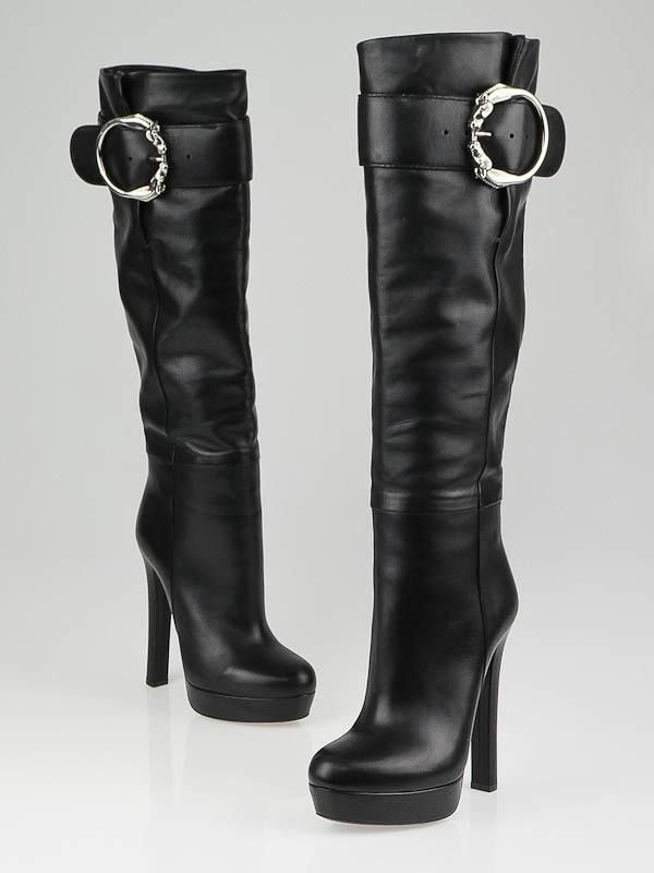 9ce2e71ff42d Gucci Black Leather Round Horse-Heads Tall High Heel Platform Boots ...