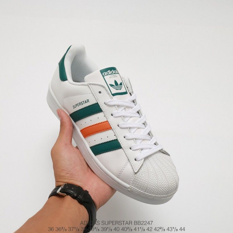 adidas superstar green orange