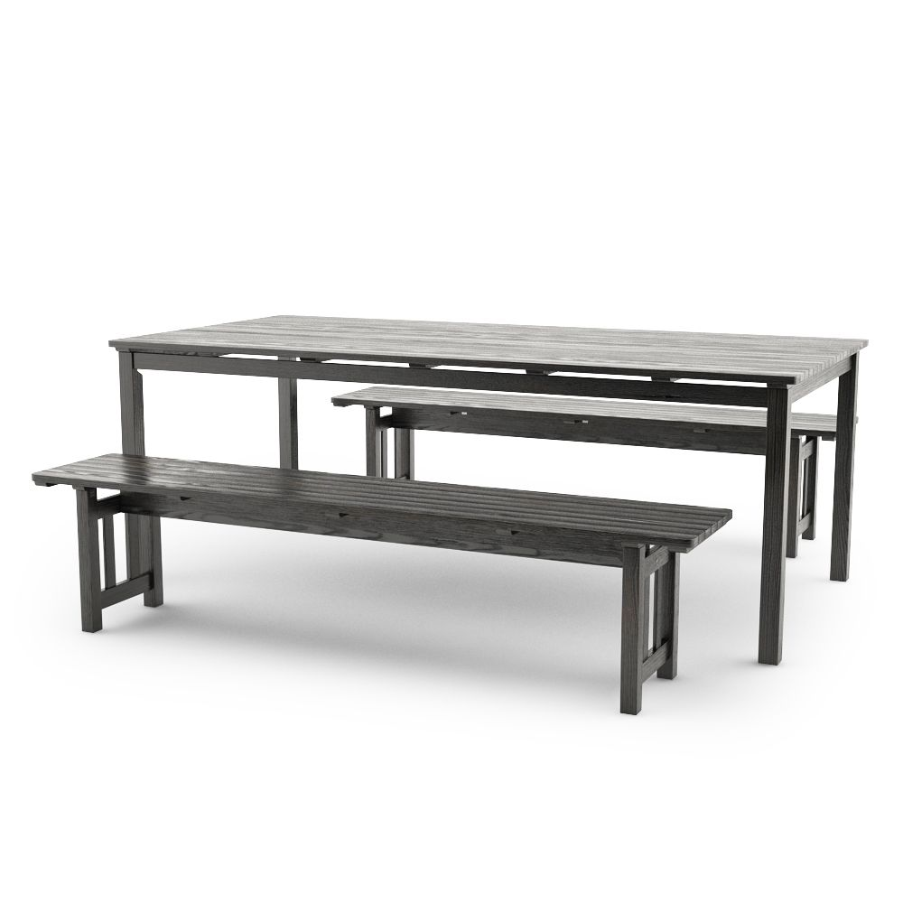 Free 3d Model Of Ikea Angso Outdoor Furnitures Series Set Of Two Benches  And Table,