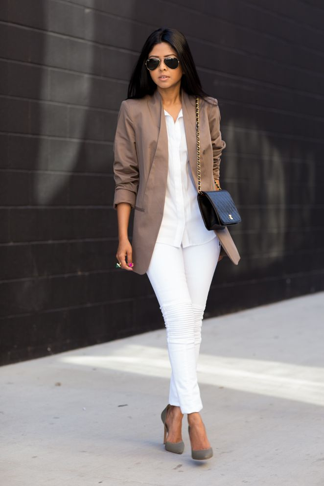 Crisp white button down + white jeans + taupe blazer | work outfits | Pinterest | White jeans ...