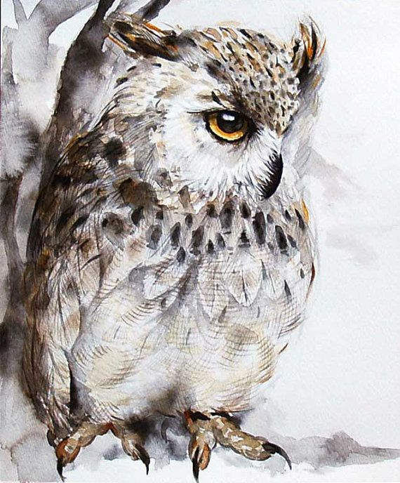 Watercolor Owl paintingowl painting by KURONINJIN on Etsy ...