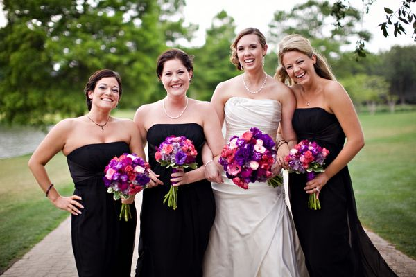 Pink Purple Bouquets With Black Bridesmaid Dresses Wedding