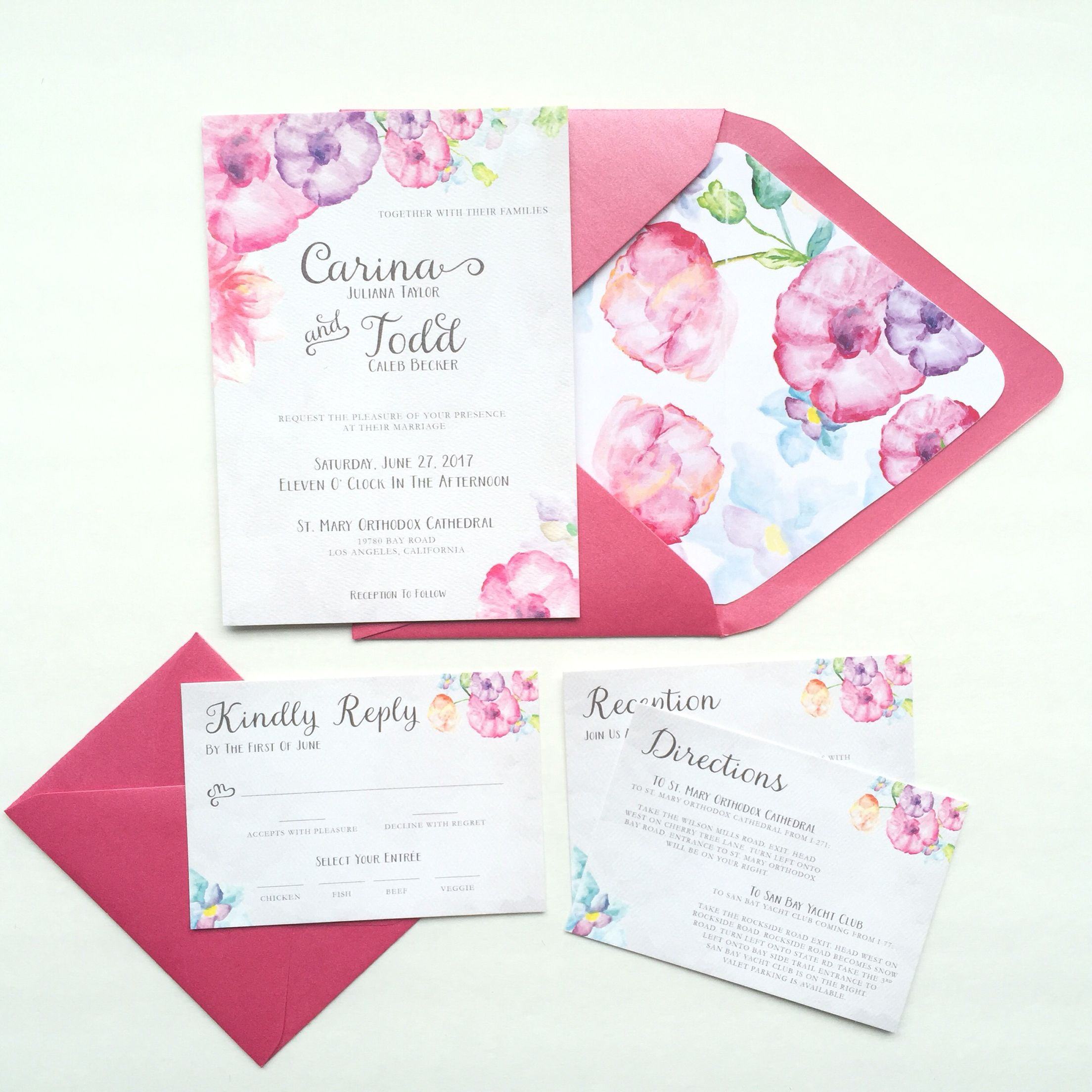 Watercolor floral wedding invitation suite by Design Outside The Box ...