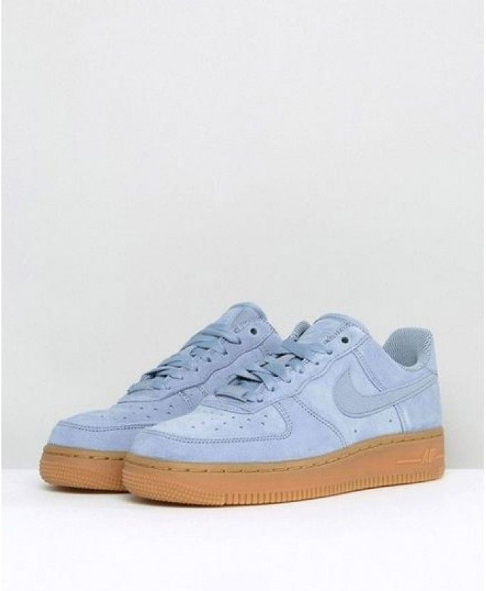 more photos 1b20a 96a5e Nike Air Force 1 07 Blue Suede With Gum Trainer Sale UK,Fashion and trend.