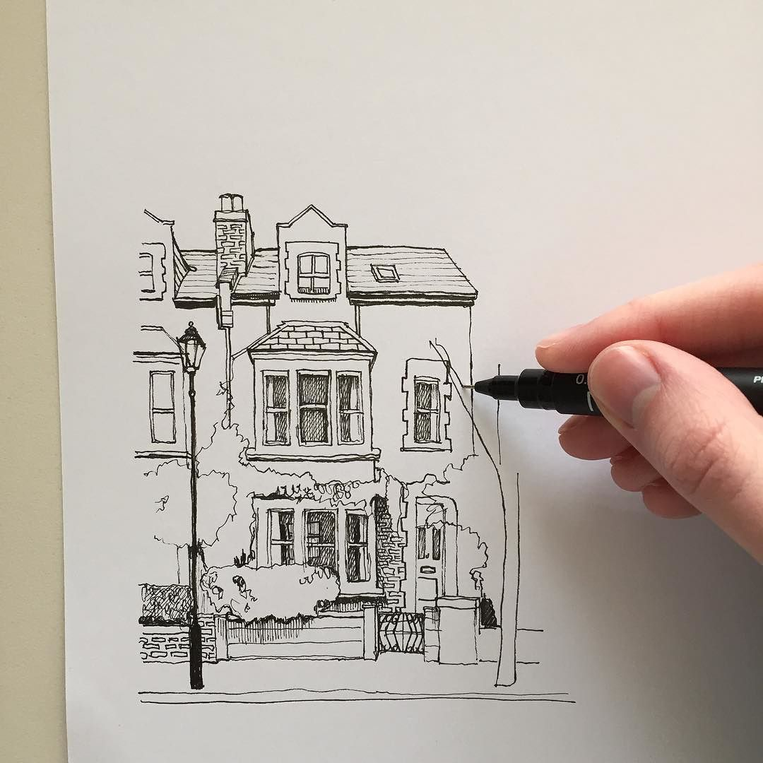 Pencil Architectural Illustration : Another example of houses all the same then one crazy
