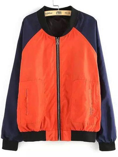 Orange Navy Stand Collar Zipper Loose Jacket
