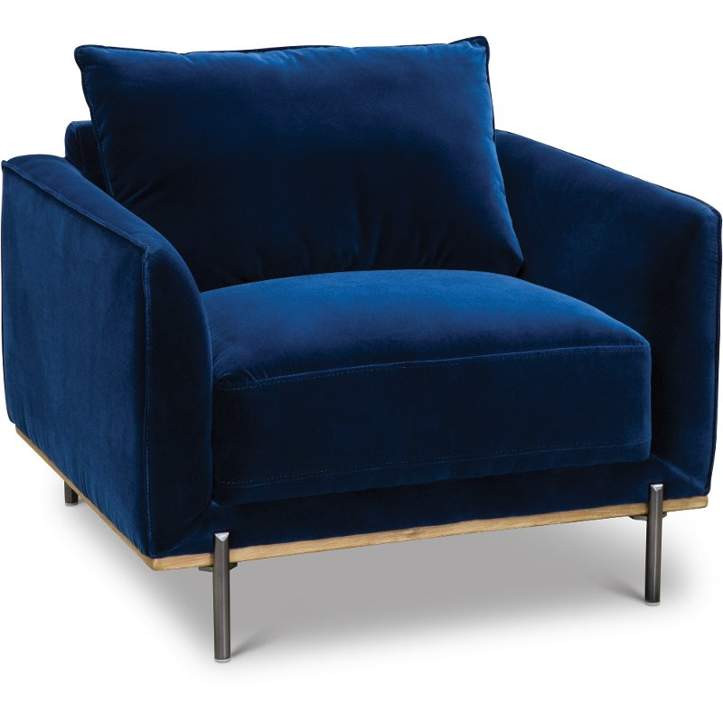 Offered By Rc Willey Make A Serious Style And Comfort Statement With The Marseille Royal Blue Velvet Chai Blue Velvet Chairs Velvet Chair Blue Accent Chairs