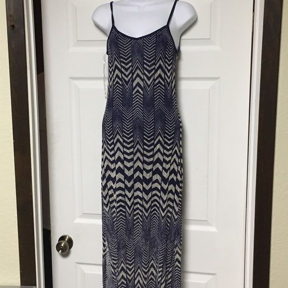 chevron Maxi Navy blue mini dress under a semi sheer white/navy chevron dress. Slits up both sides. Super cute Fire Los Angeles Dresses Maxi