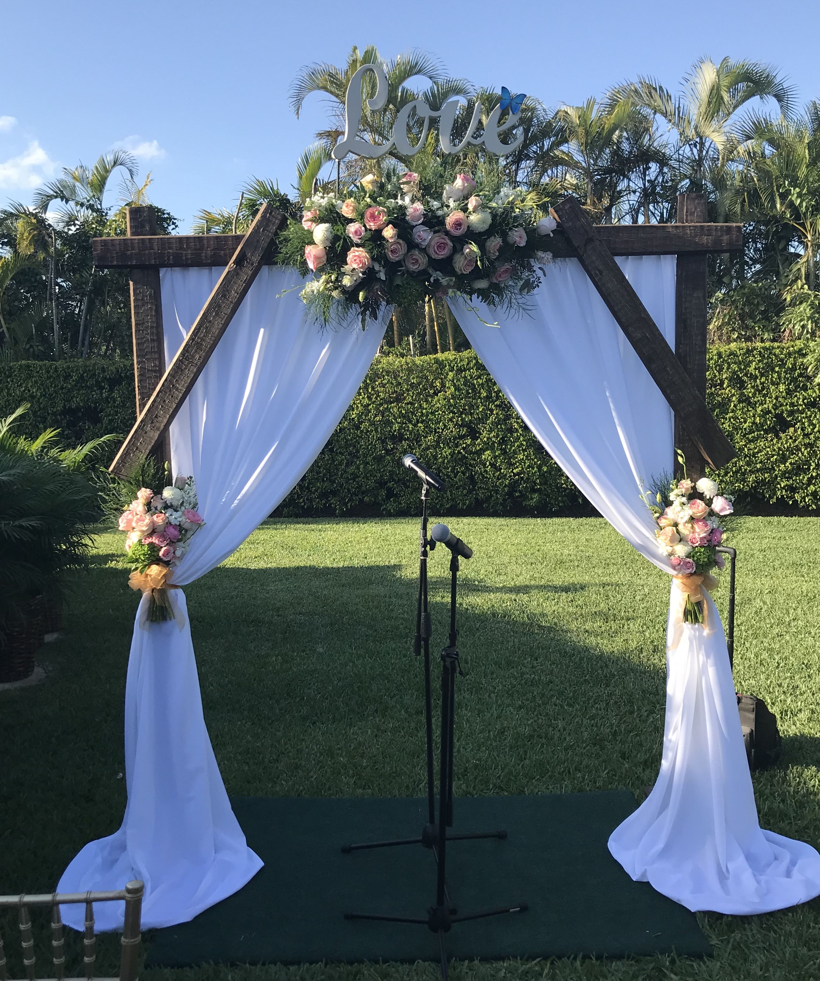 Outdoor Wedding Arch: DIY Wedding Arch Made From Landscape Timbers In 2019
