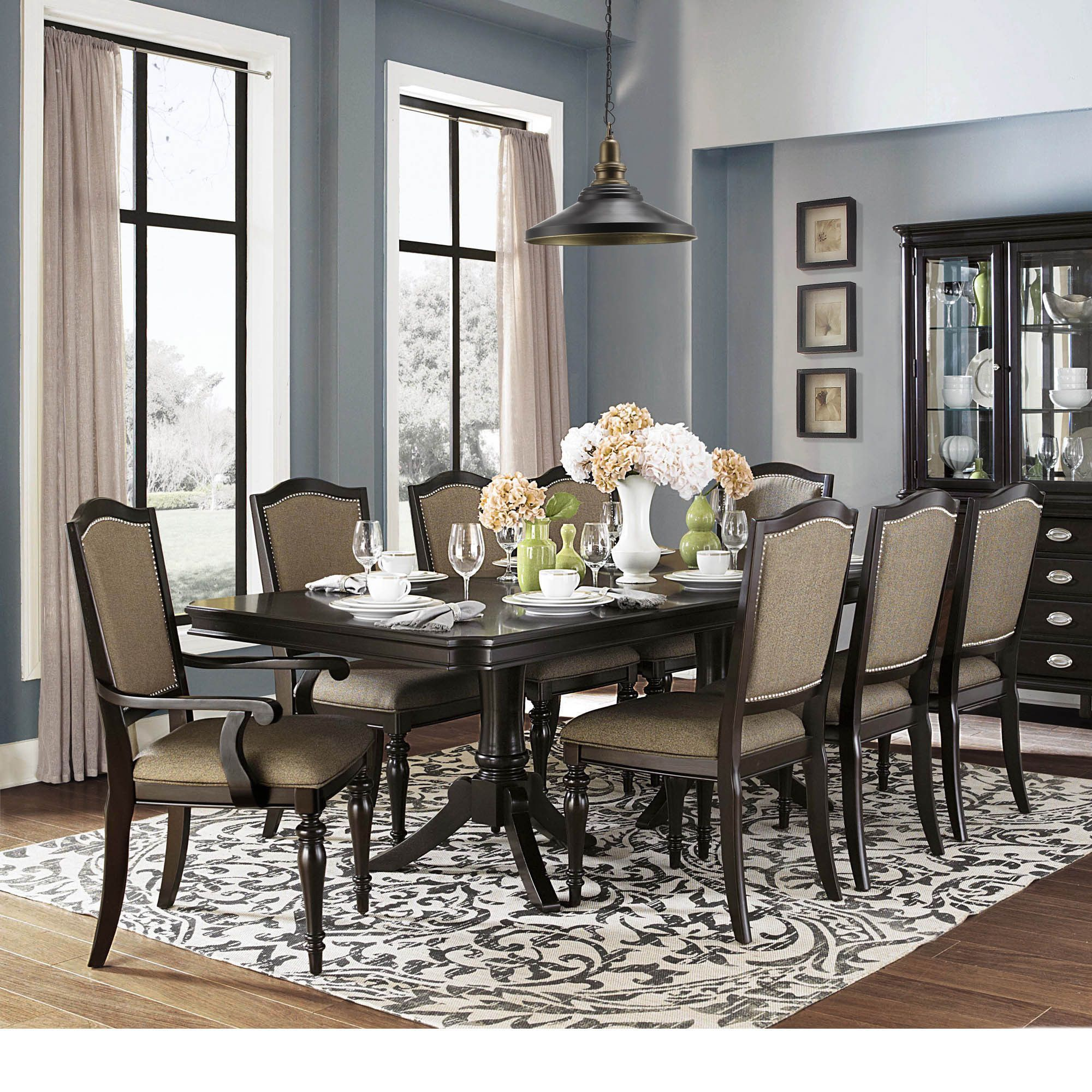 LaSalle Espresso Pedestal Extending Table Dining Set by TRIBECCA HOME by  INSPIRE Q