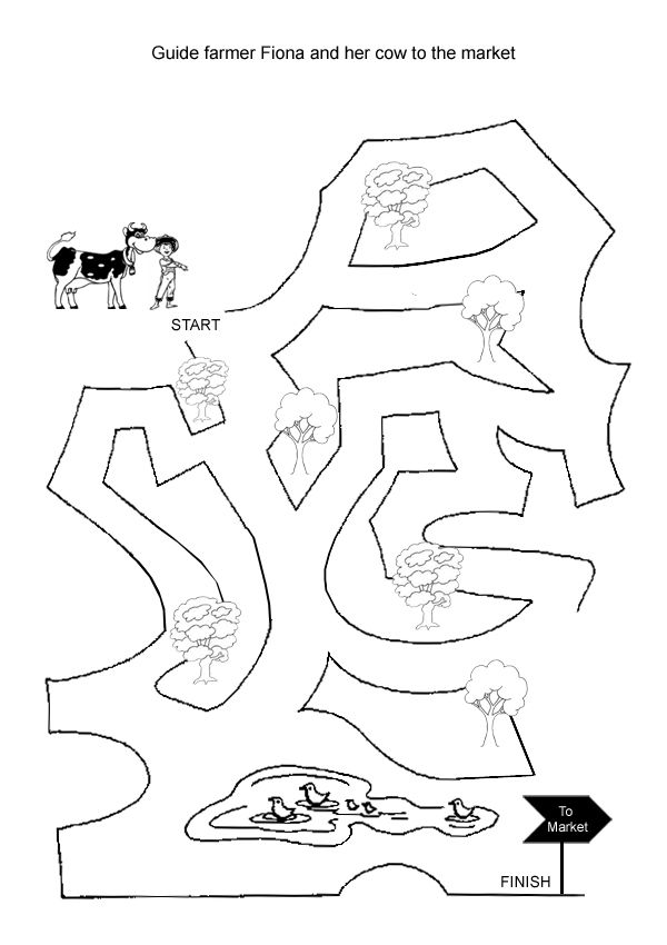 Free Online Printable Kids Games - Cow Maze | Maze, Homeschool and ...