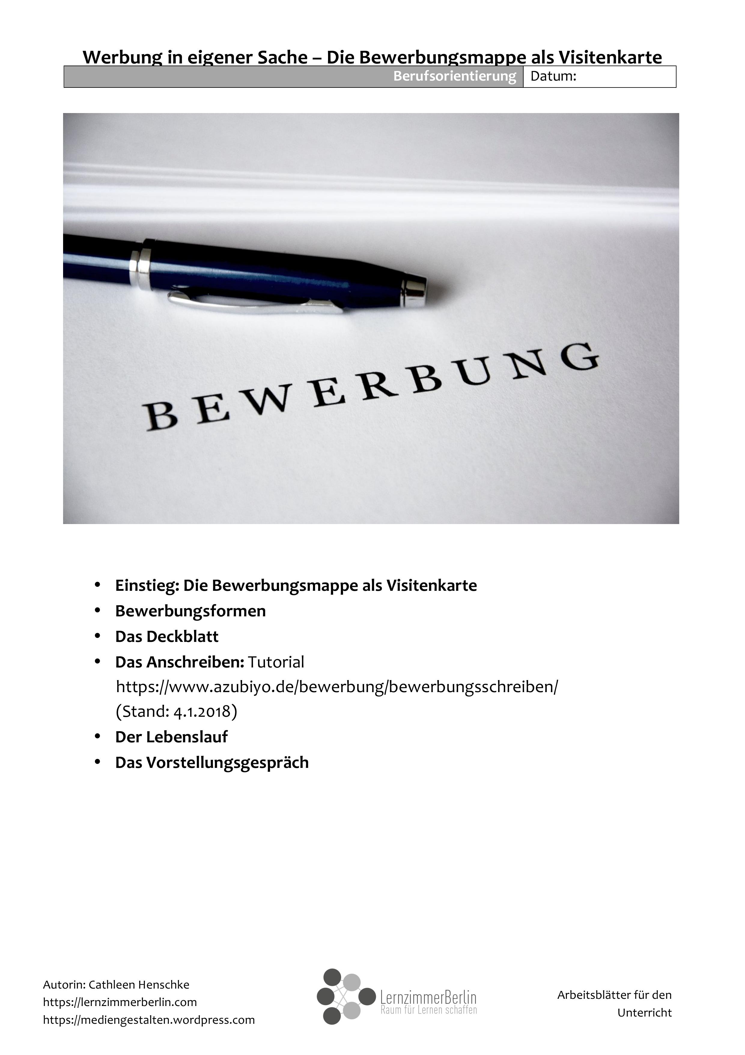 Werbung In Eigener Sache Bewerbungstraining Einstieg Bewerbungsmappe Vorstellungsgesprach Unterrichtsmaterial In Den Fachern Arbeitslehre Deutsch W Bewerbung Mappe Bewerbung Vorstellungsgesprach