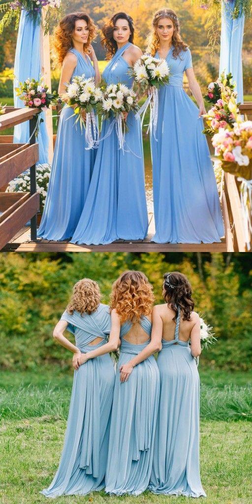 Blau Brautjungfernkleider Lang Günstig Chiffon Kleider für ...