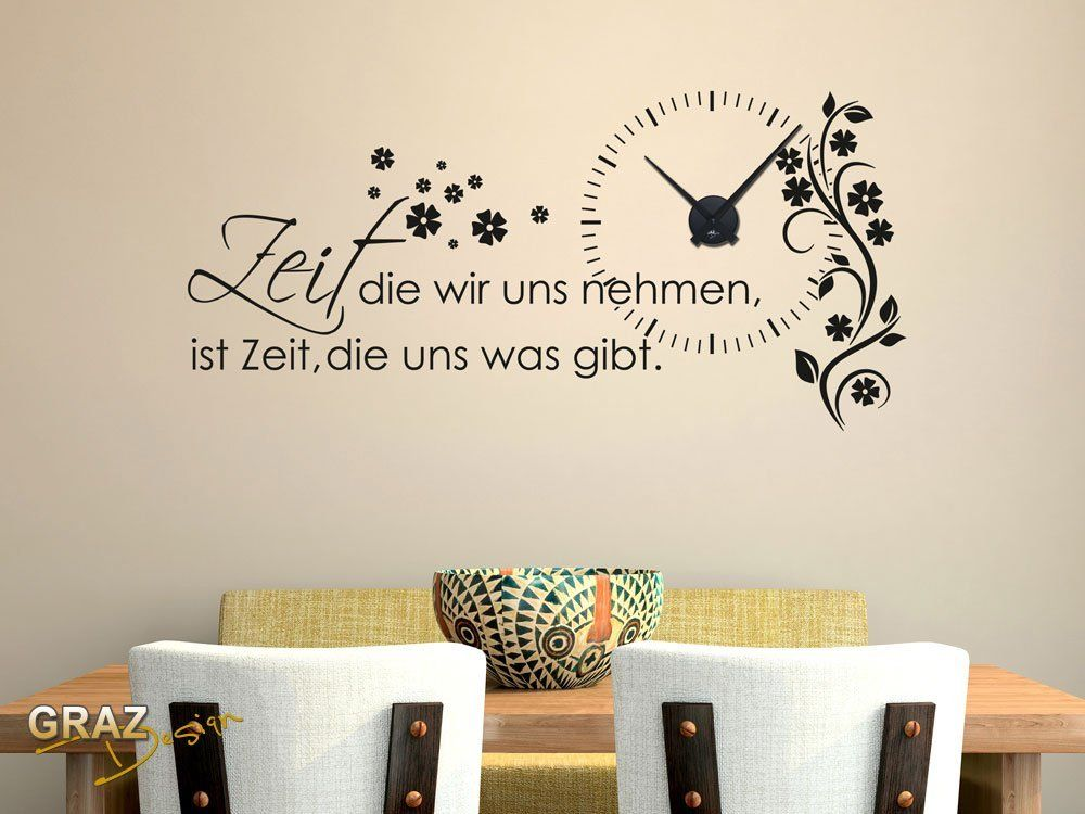 wandtattoo uhr wanduhr mit uhrwerk zitat zeit wohnzimmer blume uhr schwarz aufkleber schwarz. Black Bedroom Furniture Sets. Home Design Ideas