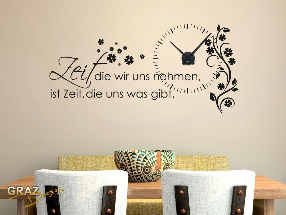 Wandtattoo Uhr Wanduhr mit Uhrwerk Zitat Zeit Wohnzimmer Blume UhrSchwarzAufkleberSchwarz