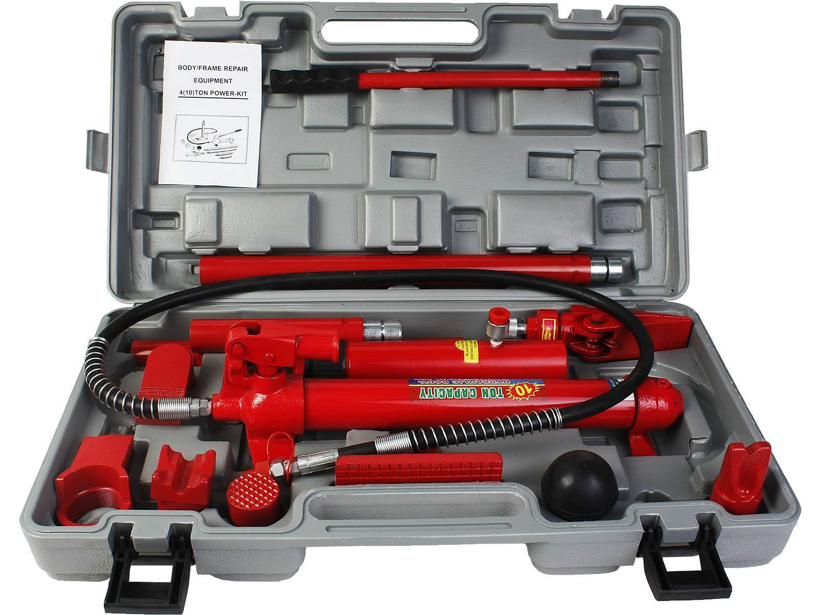 10 Ton Porta Power Hydraulic Jack Body Frame Repair Kit Auto Shop Tool Heavy Set Car Shop Repair Auto Body Repair