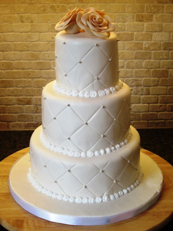 3 tier with pinned beads cakes Pinterest Wedding Cake ideas