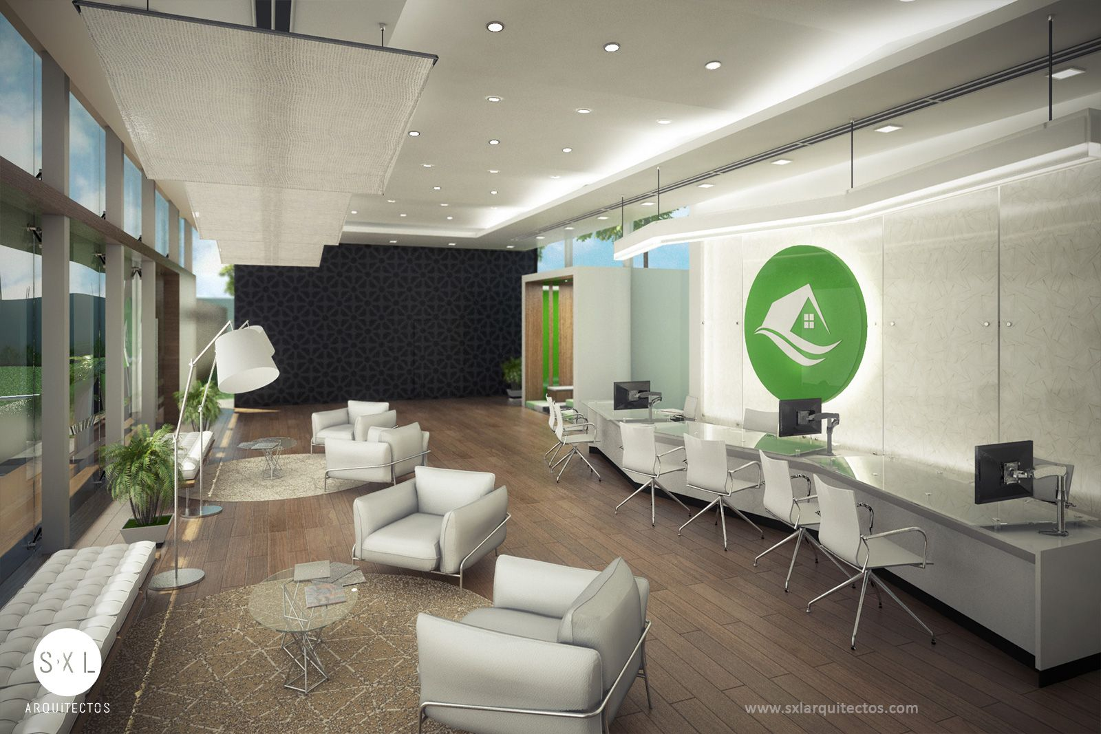 Diseño Interior De Sala De Ventas Diseño De Sxl Arquitectos Fachadas De Oficinas Arquitectura Estudio De Arquitectura