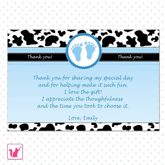 Baby Shower Thank You Cards Note   Blue Black Cow Barn Farm Design Baby  Thank You