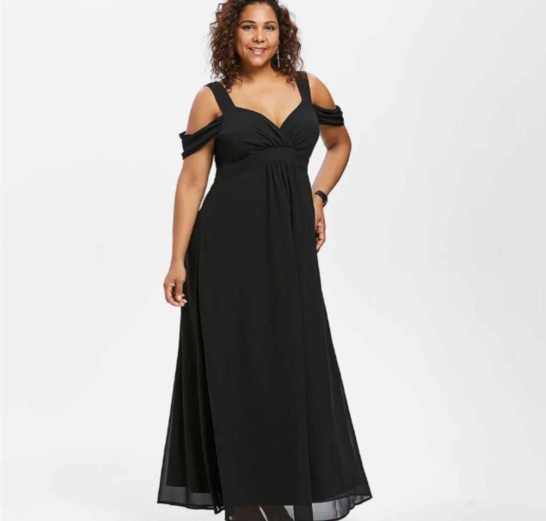 Plus Size Cold Shoulder Empire Waist Maxi Dress. Estimated
