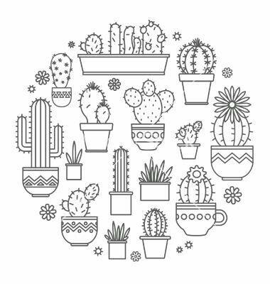 Cactus vector pauls pinterest dessin dessin cactus et broderie - Cactus coloriage ...