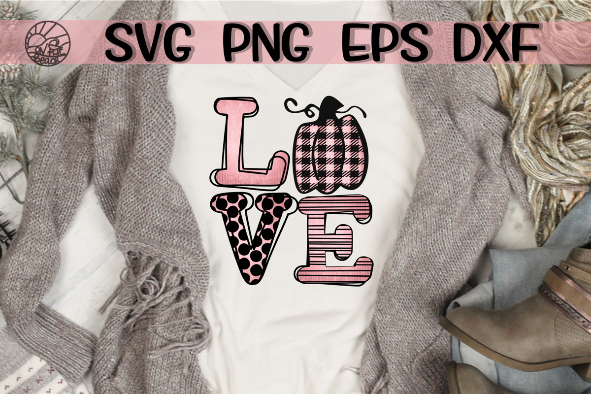 LOVE Pink Pumpkin SVG PNG DXF EPS Pink pumpkins