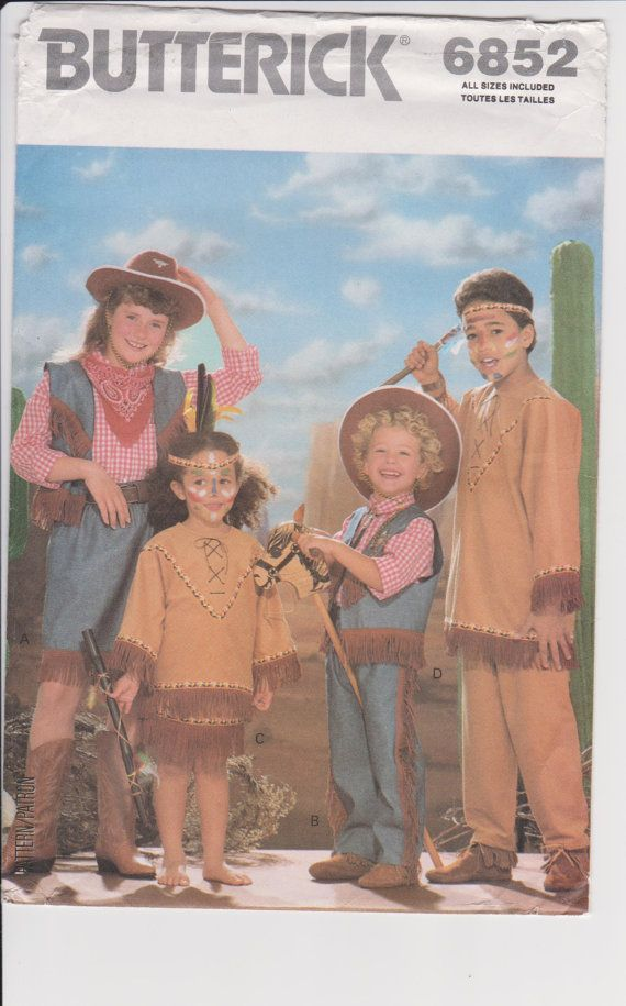 Butterick 6852 Halloween Costume Sewing Pattern Cowboys And Indians