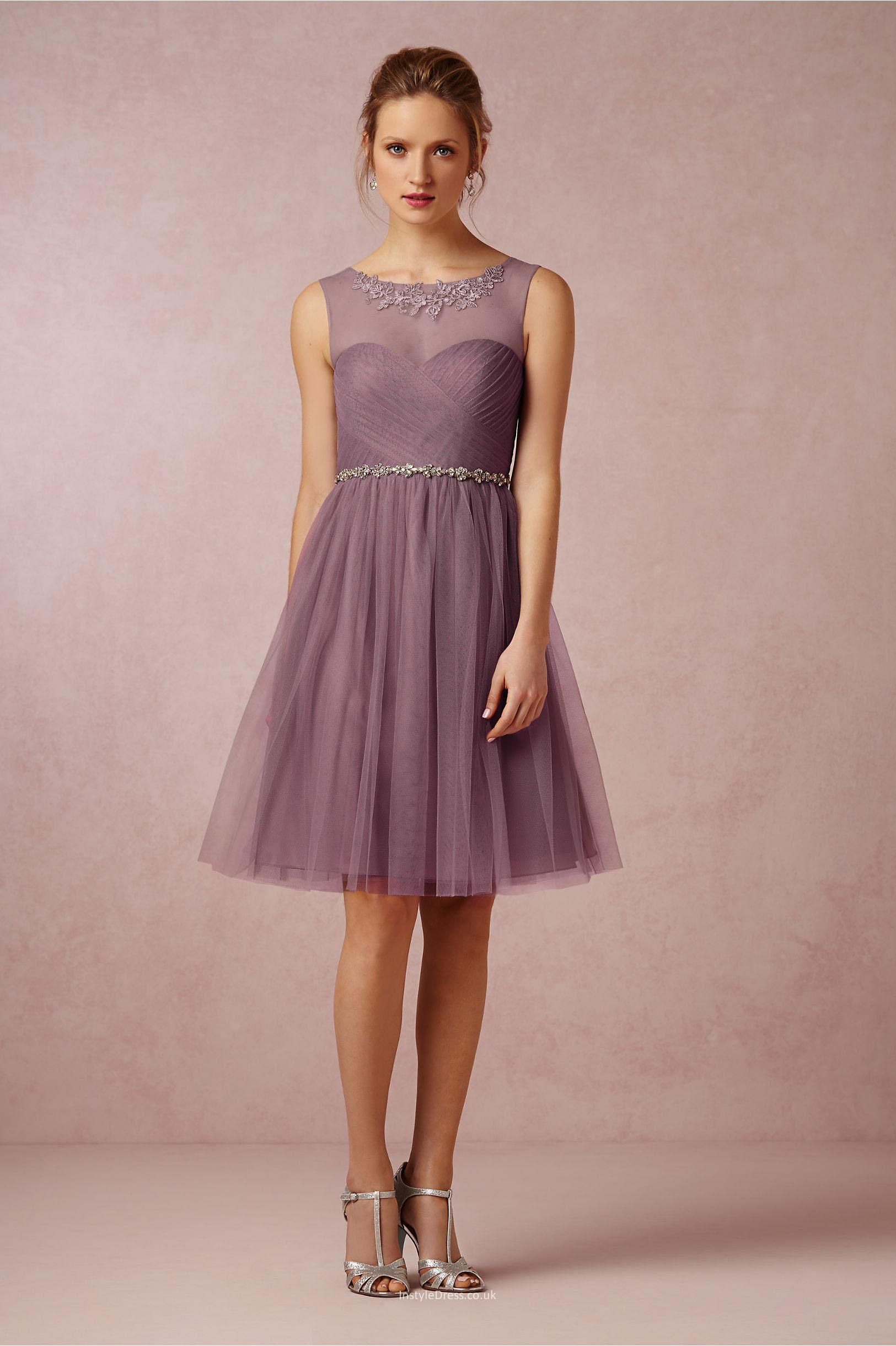 9b6bfd8881f2 illusion boat neckline open back short knee length tulle bridesmaid dress