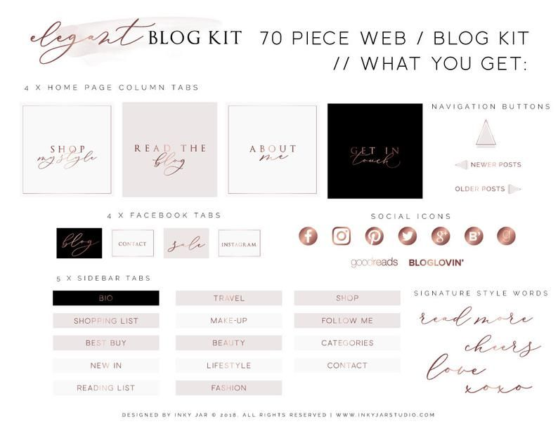 70 Piece Web Blog Kit Branding Kit Blogger Kit Social Buttons Homepage Tabs Rose Gold Marble Blog Design Kit Blog Graphics Branding Kit Blog Social Icons