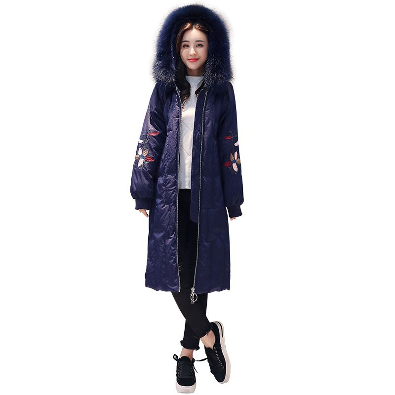 65f4f7c4ea4e9 2018 Winter long down jacket women hooded down jacket coat women thicken  warm down jacket Ms high quality white duck down jacket