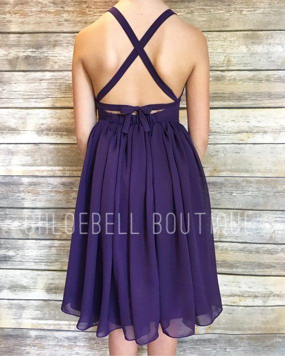 c8f2db022b8 Midi Purple flower girl dress - Plum flower girl dress - Plum - Midi  chiffon dress - Long chiffon to