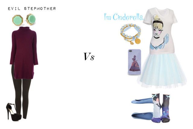 """Princess v Villian- Cinderella vs Lady Tremaine"" by bazanymarleah ❤ liked on Polyvore featuring Kartell, Disney, Bee Charming, Topshop, JustFabulous, Allude and Marc by Marc Jacobs"