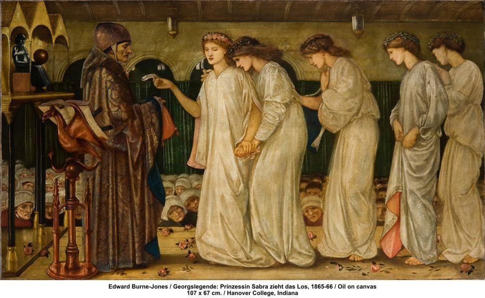 Edward Burne-Jones / Georgslegende: Prinzessin Sabra zieht das Los, 1865-66 / Oil on canvas 107 x 67 cm. / Hanover College, Indiana