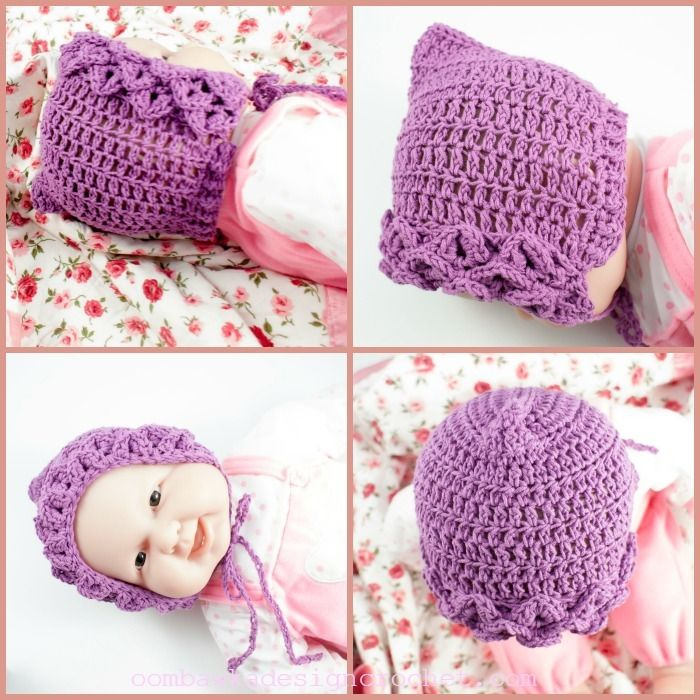 Crocodile Stitch Baby Bonnet | Gorro tejido y Tejido