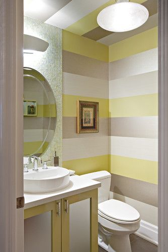 Chevron Wall Paint Design Ideas Pictures Remodel And Decor Powder Room Design Yellow Bathrooms Striped Walls
