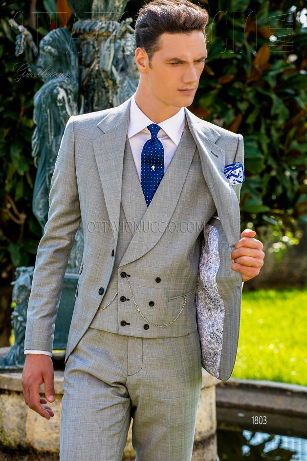 897bf19d2ae7 ONGala 1803 - Abito sposo uomo Principe di Galles grigio chiaro ...