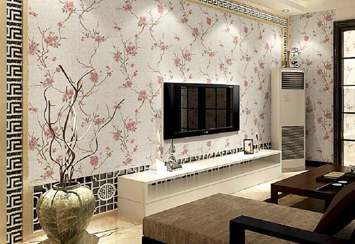 Gambar Wallpaper Dinding Ruang Tamu Bunga Merah Jambu