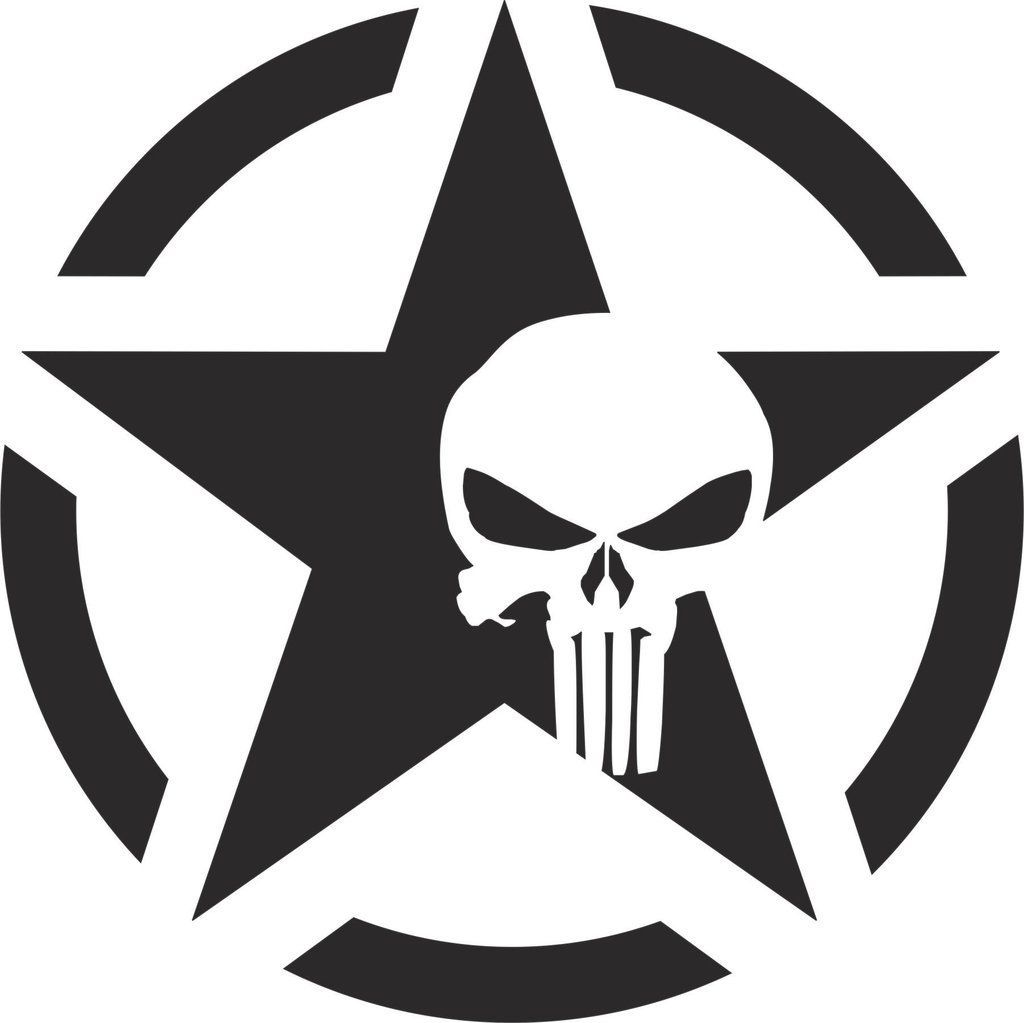 Jeep willy army star punisher vinyl decal