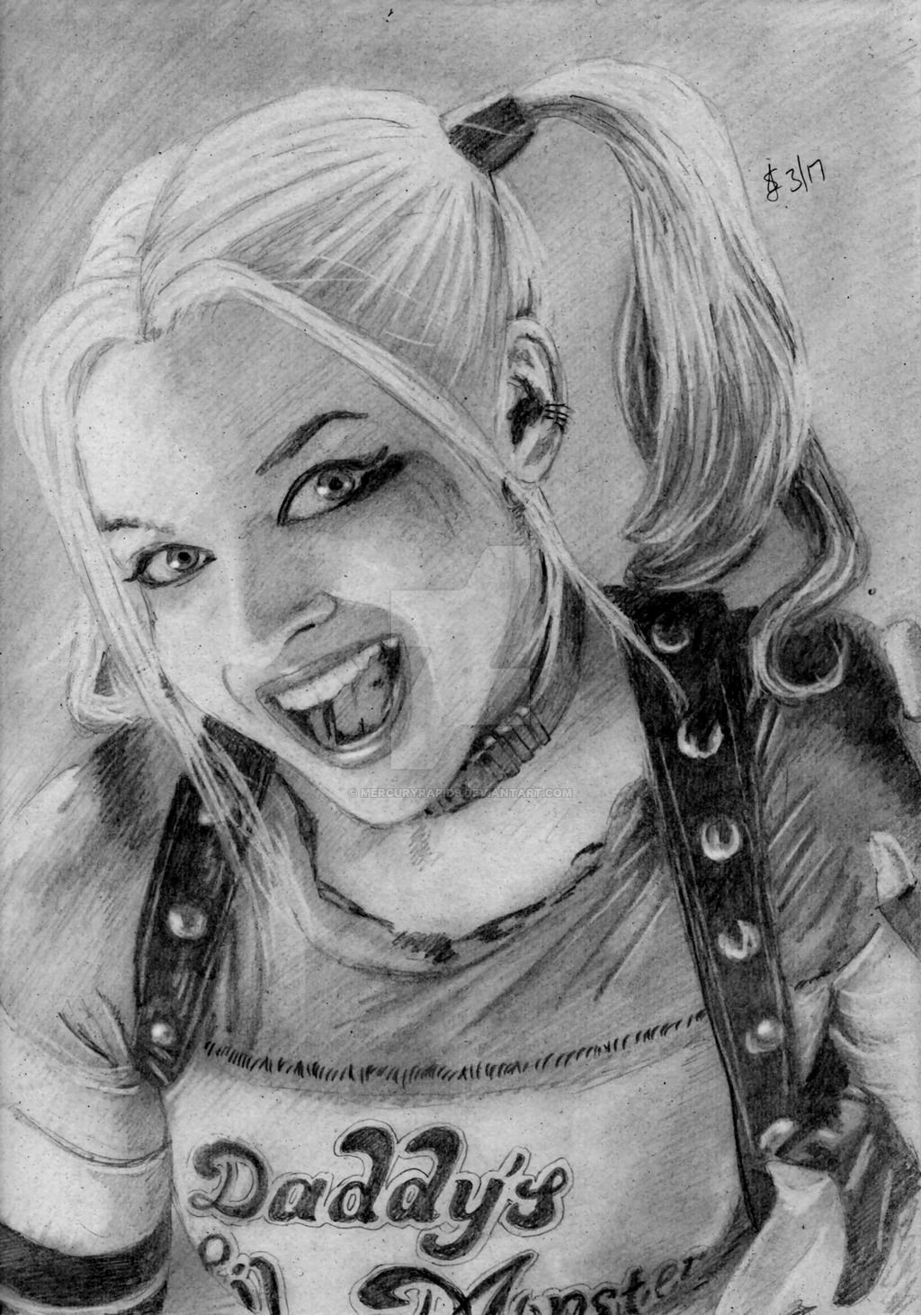 Pencil drawing of harley quinn harley quinn by mercuryrapids on