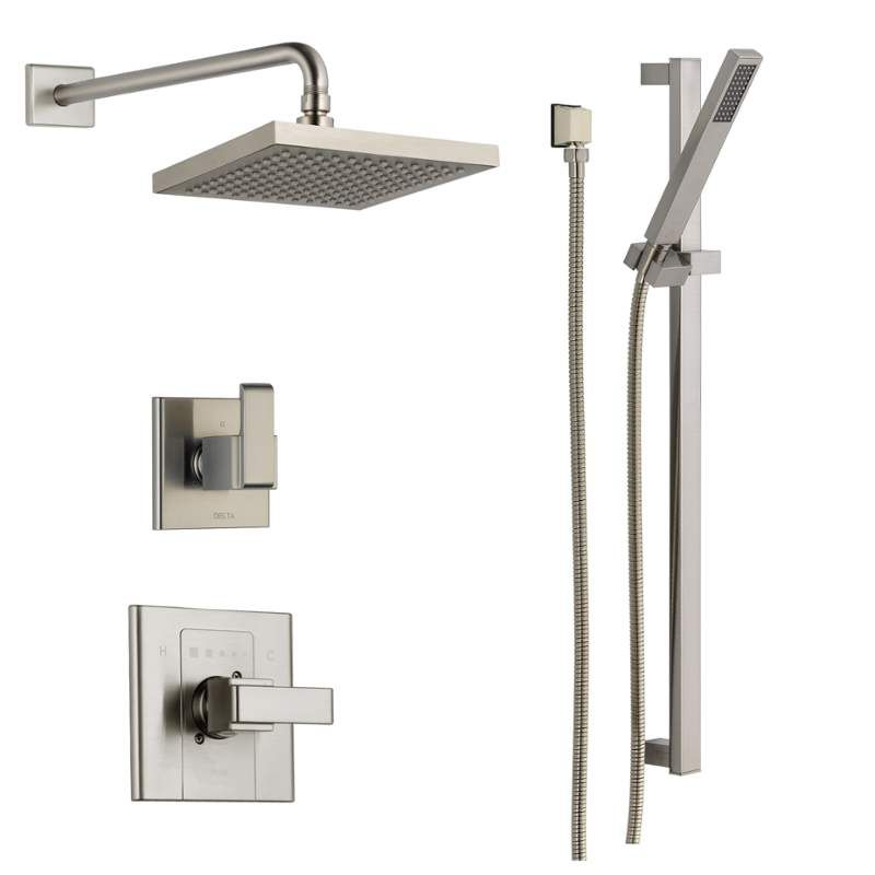 View the delta dss arzo 1401 monitor 14 series single function pressure balanced shower system for Delta bathroom shower systems