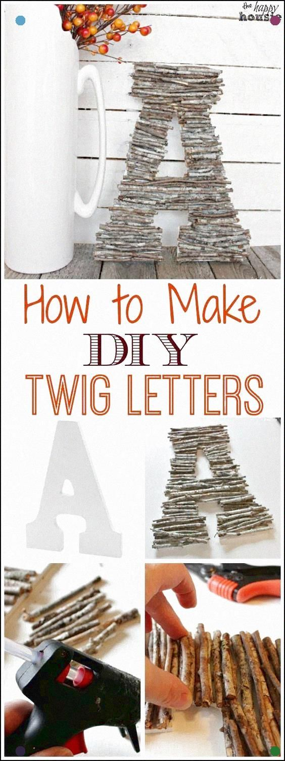 Easy Diy Craft With Twigs And Branches - Learn How To Make Your Own Twig Letters Or A Twig Monogram Tutorial At The Happy Housie #Twigcrafts #Naturecrafts #Falldecor: #twigcrafts