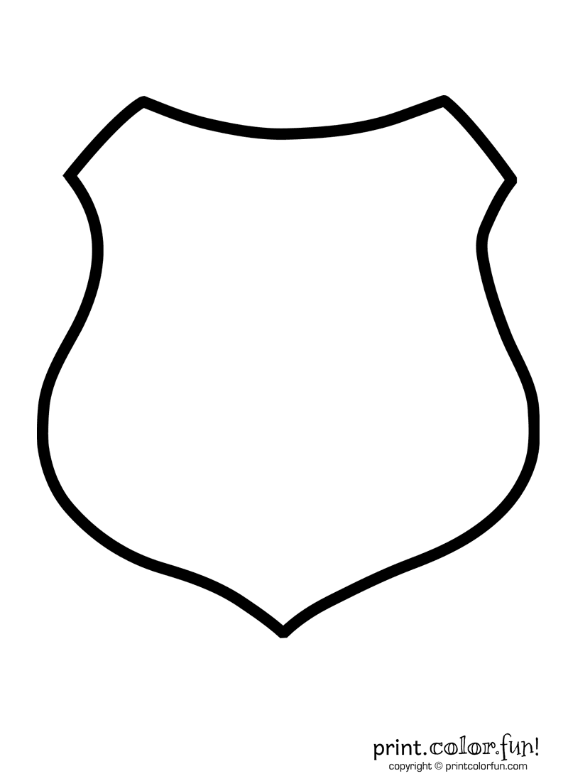 police shield | print. color. fun! free printables, coloring pages ... - Firefighter Badges Coloring Pages