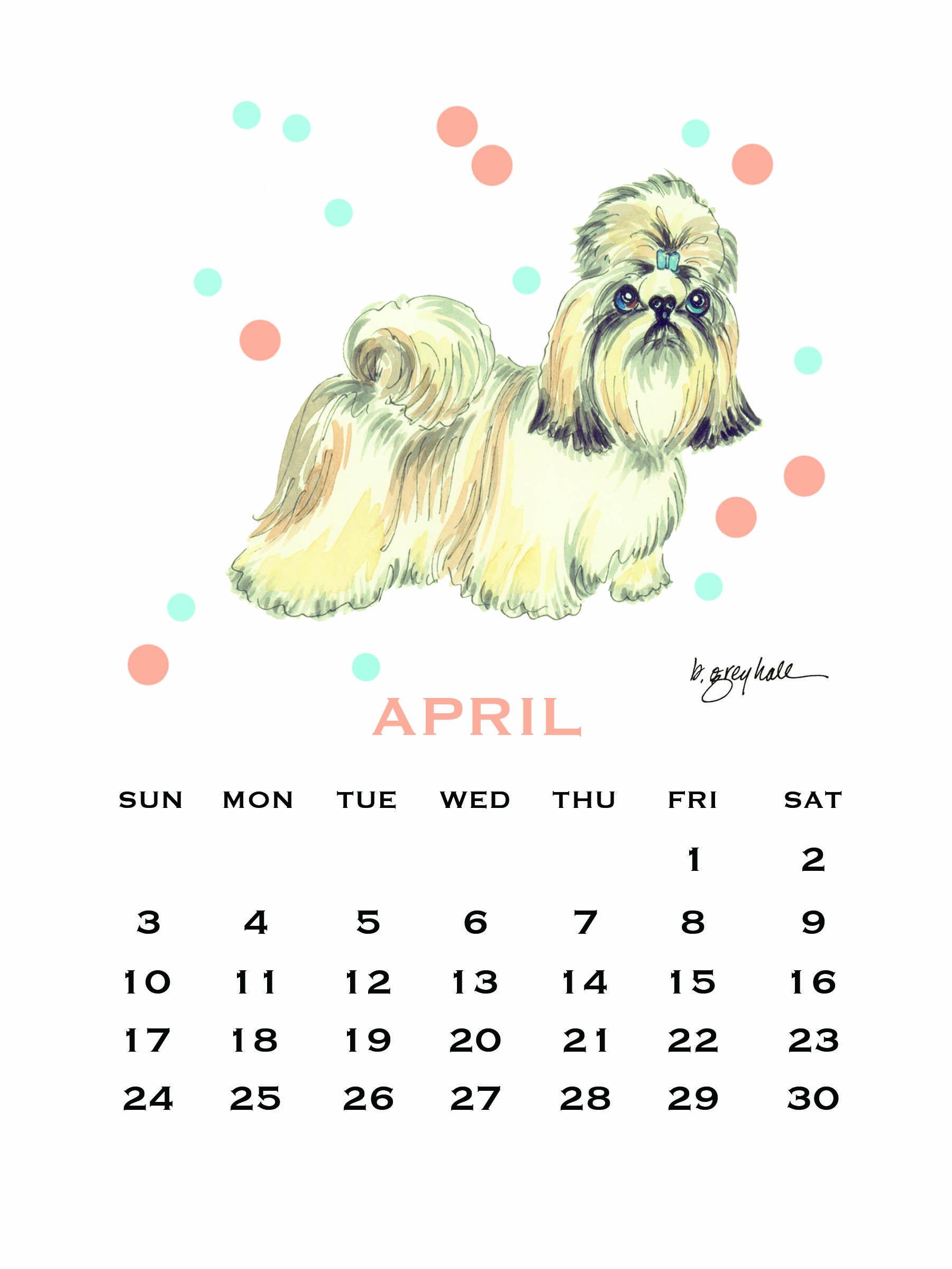 2016 April Shih Tzu Dog Desk Calendar Beautiful Stand 2016