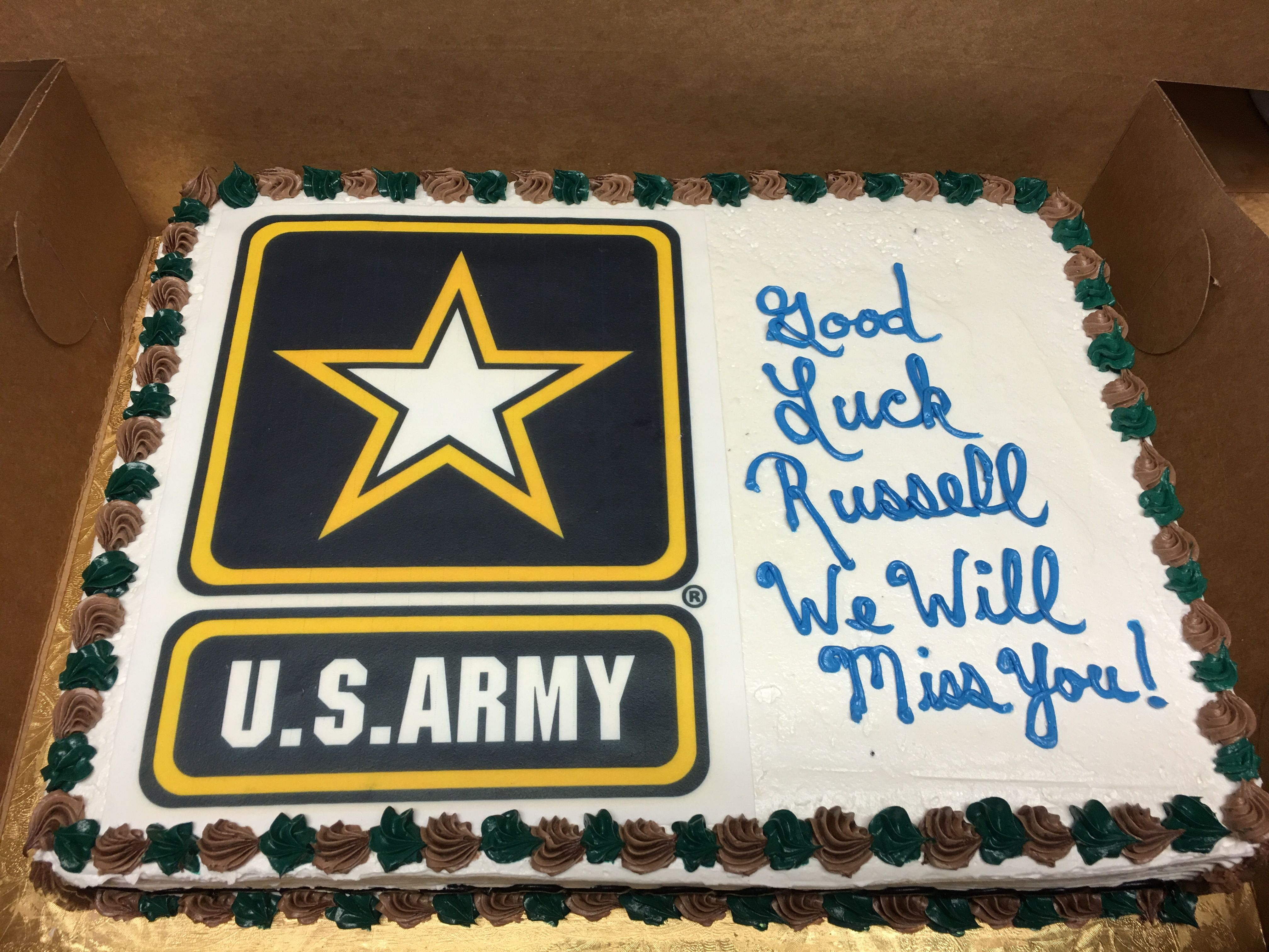 U S Army Going Away Cake Mueller S Bakery Deployment Party
