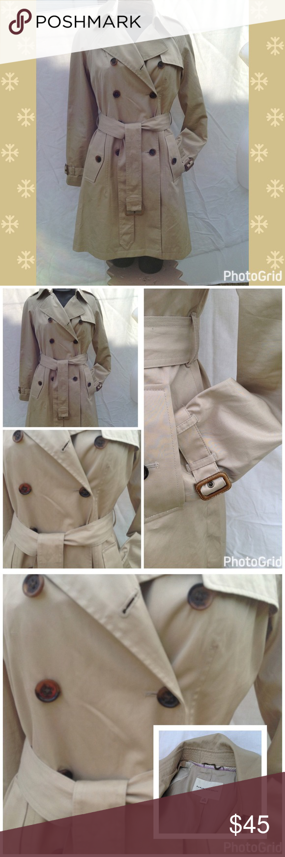 BANANA REPUBLIC TRENCH COAT Excellent condition , never wear it,, sat in closet ,,,, small mark/stain on back almost unnoticeable (piece of tape stuck to it) Banana Republic Jackets & Coats Trench Coats